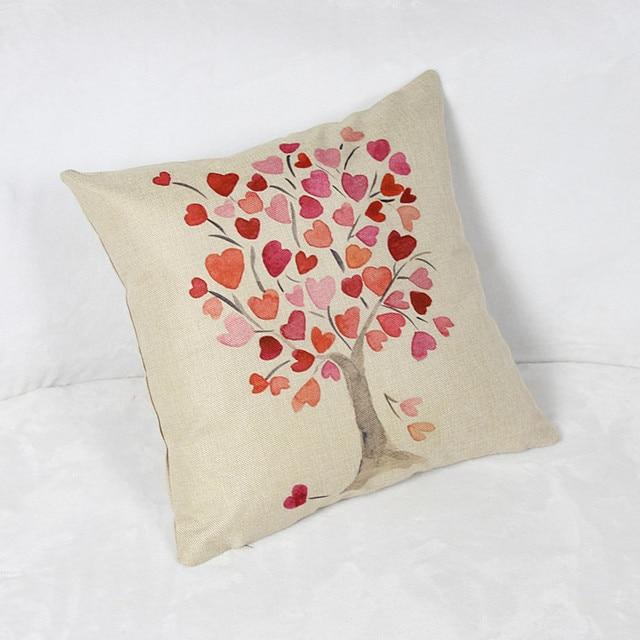 Printed Fresh Color Peach Tree Cushion Custom Linen Decorative Throw Classy Peach Decorative Throw Pillows