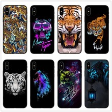 купить Fashion Soft Black  Case For Coque iPhone 7 Artistic Style Eye&Tiger Pattern TPU Back Cover For iPhone 6 6s 7 8 Plus X Capa по цене 121.14 рублей