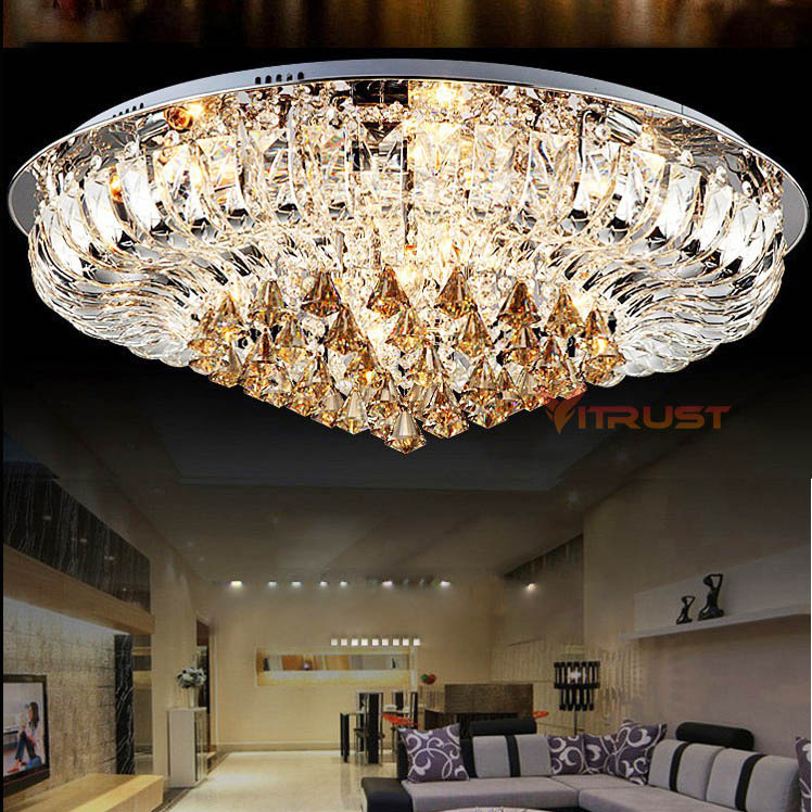 Ceiling Lights & Fans Lights & Lighting Living Room Lamp Crystal Lamp Round Ceiling Lamp Led Modern Minimalist Atmosphere European Bed Restaurant Lamp Complete Range Of Articles