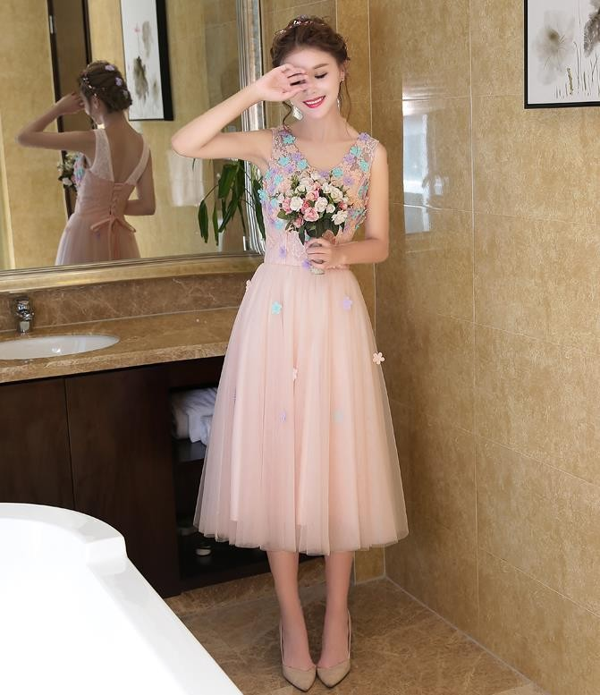 13afa3eb1b Sweet Light Pink Cocktail Dresses 2017 V-Neck Appliques Tulle Tea-Length  Lace Up Back Sexy Short Prom Dress Cheap In Stock