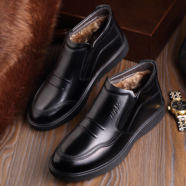 Handmade Men Genuine Leather Winter Boots Warm Snow Men Chelsea Boots Ankle Boots for Men Winter Shoes Business Dress Shoes 2019