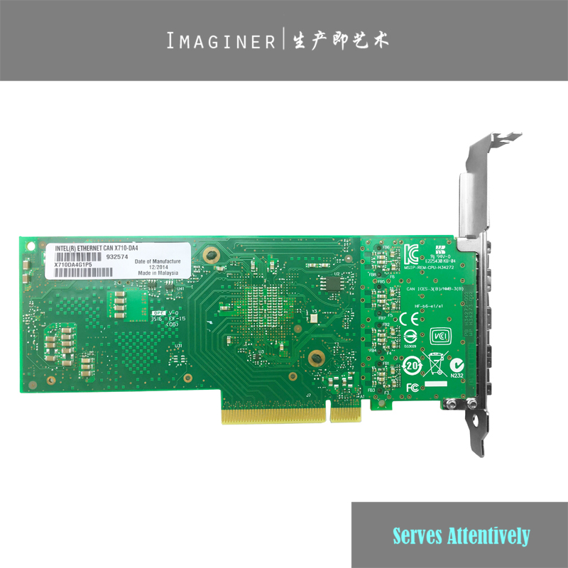 US $249 99 |For Intel Ethernet Converged Network Adapter X710 DA4 4Port  SFP+ 10Gb ISCSI NFS DDJKY PCI e3 0 Controller Card-in Network Cards from