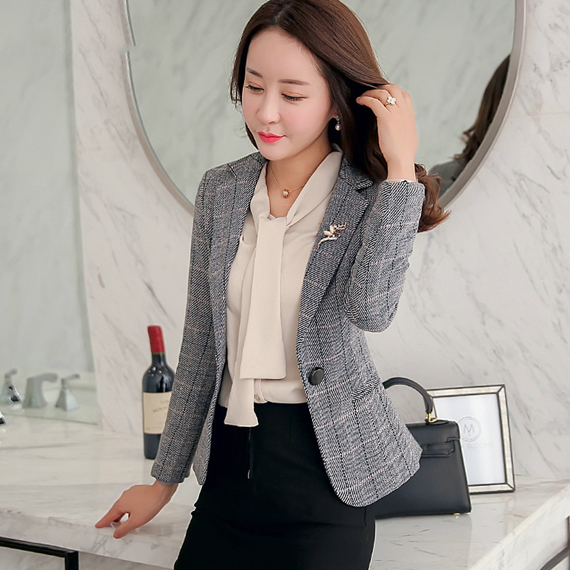 High Quality Spring Autumn  Women Suit  New Style Winter One Button Xxxl Designs Female Work Wear Fashion Slim Casual Short Tops