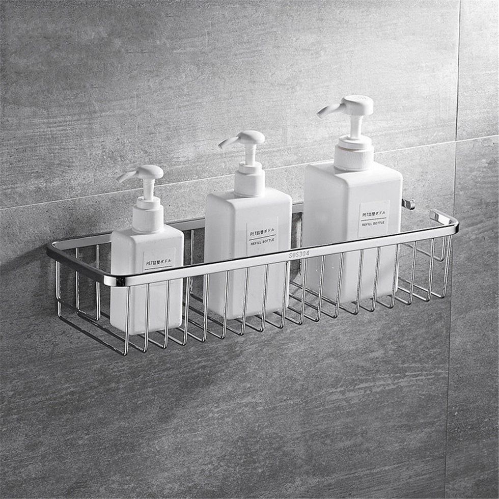 Wall Mounted Bathroom Basket 304 Stainless Steel Shower Caddy Storage Shelf For Shampoo Soap Holder Etagere Tipi Repisa