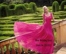 Schatz-kappen-hülsen A-linie fließende chiffon lange abendkleider Rose Chiffon Bodenlangen Außen Ballkleid kleid für sex