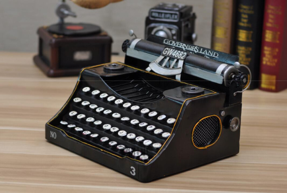 vintage retro classic Distressed movie prop antique typewriter hand-made craft model for home coffee bar ornaments decoration
