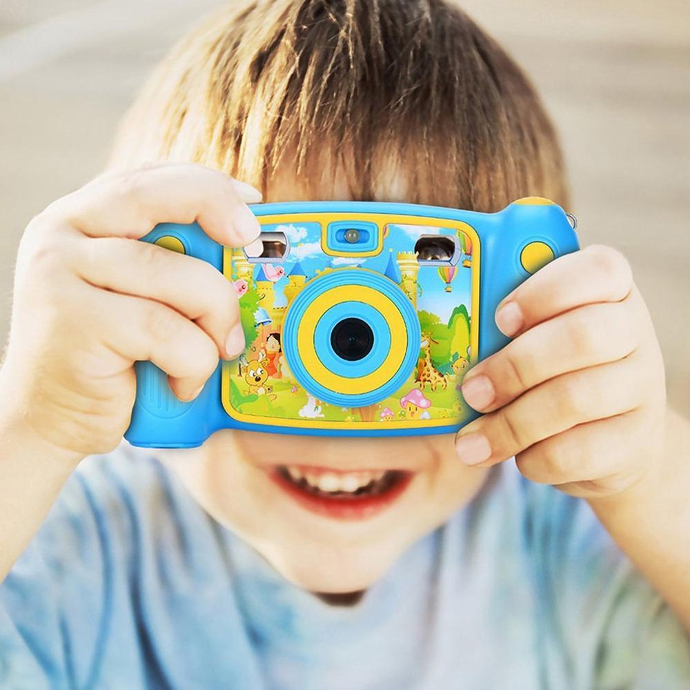 SJ08 Mini caméra numérique pour enfants 2 pouces dessin animé mignon caméra enfants cadeau d'anniversaire enfant en bas âge jouets caméra