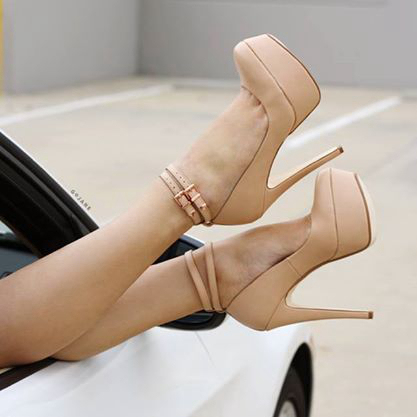 Nude Pumps High Heel Shoes for Prom Summer Women Dress Ankle Strap Stiletto Heels Calcados Pumps Women Sapato Feminino