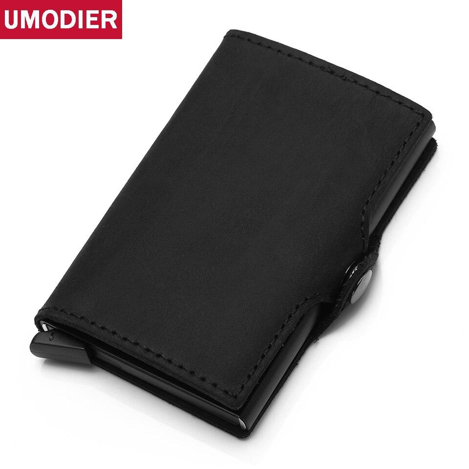 Antivol haute qualité hommes support de carte Rfid porte-carte de crédit en Aluminium avec Rfid bloquant Mini portefeuille en cuir véritable - 6