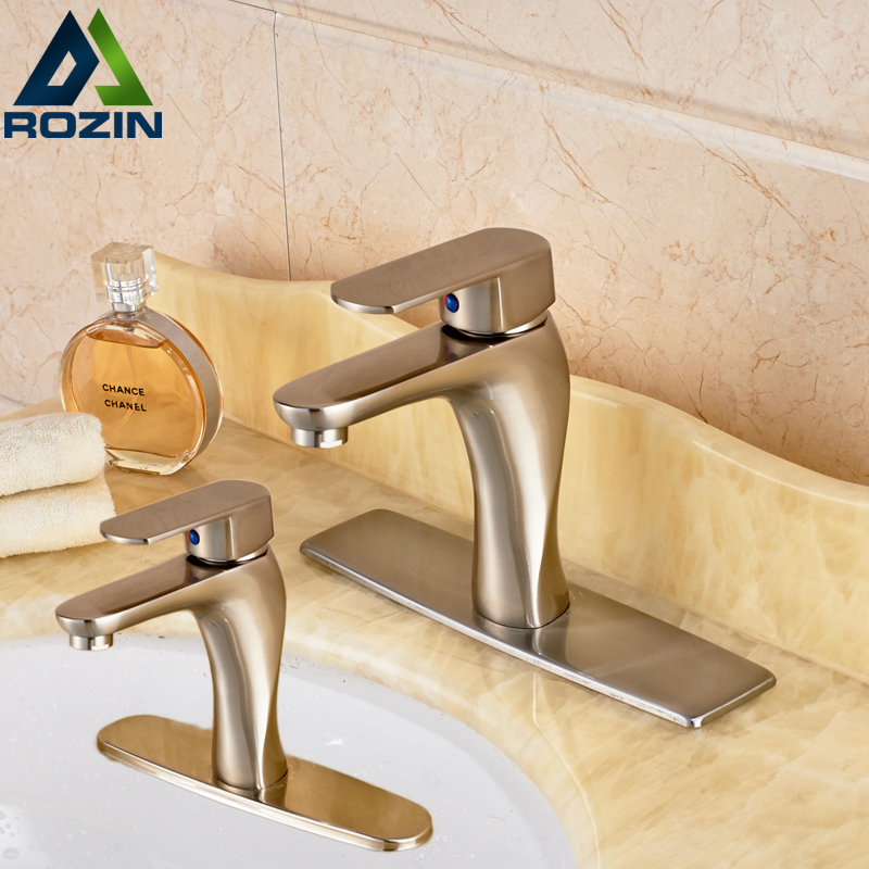 ФОТО Deck Mounted Single Hole Bathroom Water Taps Brushed Nickel One Handle Basin Mixer Faucet 8