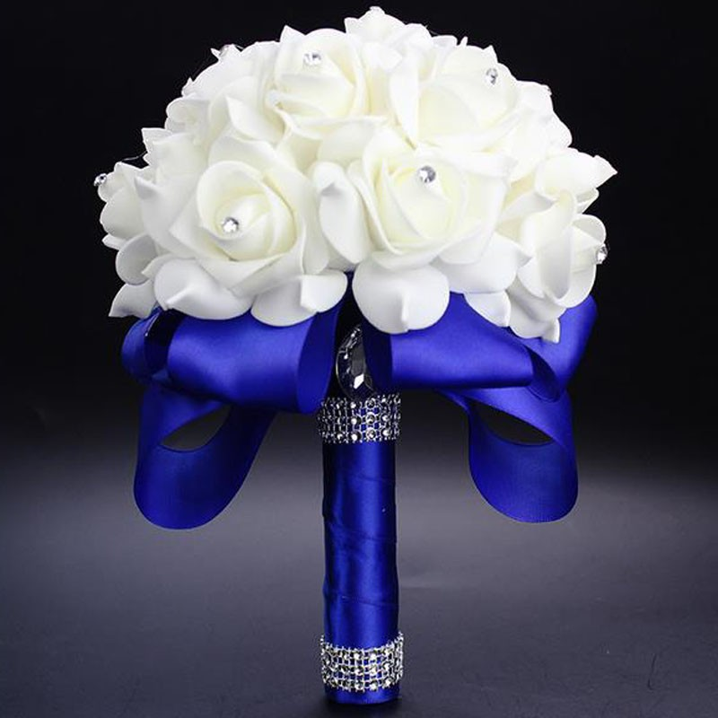 2017 Elegant Royal Blue Purple Red Fuchsia Rose Artificial Bridal Flowers Bride Bouquet Wedding Crystal Silk Ribbon In Bouquets From