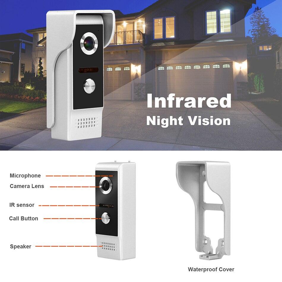Intercomunicador Puerta de vídeo con cable teléfono con registro de detección de movimiento para casa HD IR Video timbre cámara de soporte CCTV y desbloqueo - 3