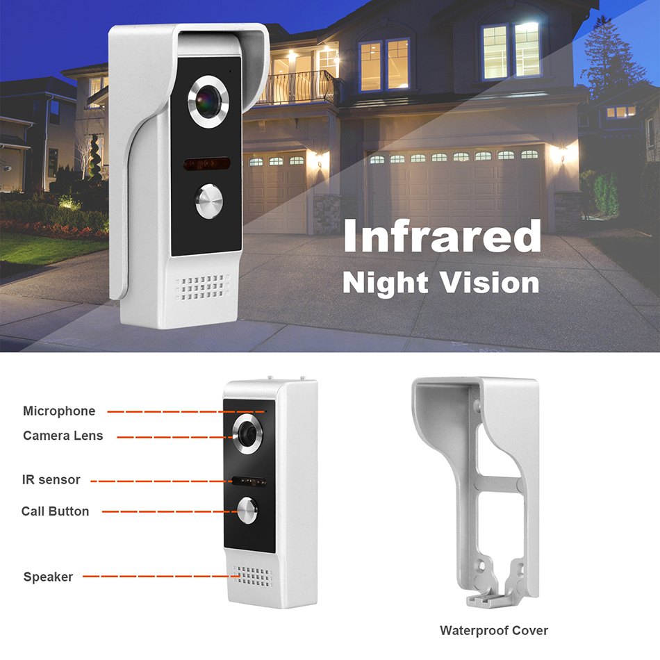 Tür Intercom Wired Video Tür Telefon mit Motion Erkennung Rekord für Home HD IR Video Türklingel Unterstützung CCTV Kamera Und entsperren - 3