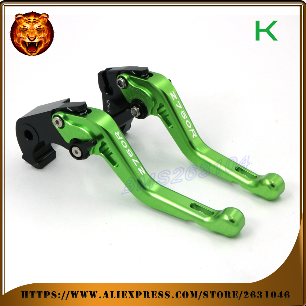 Adjustable Short Brake Clutch Levers For kawasaki Z750R Z750 R 2011 2012 FREE SHIPPING BLUE GREEN Motorcycle Accessories adjustable racing brake clutch levers for kawasaki er6n er 6n 06 07 08 09 12 13 14 15 16 free shipping motorcycle