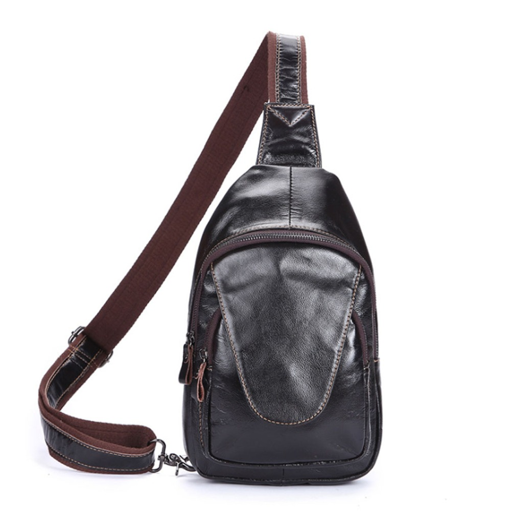 ФОТО Men Oil Wax Genuine Leather Cowhide fashion Messenger Shoulder Cross Body Bag Travel Sling Chest Back Day Pack