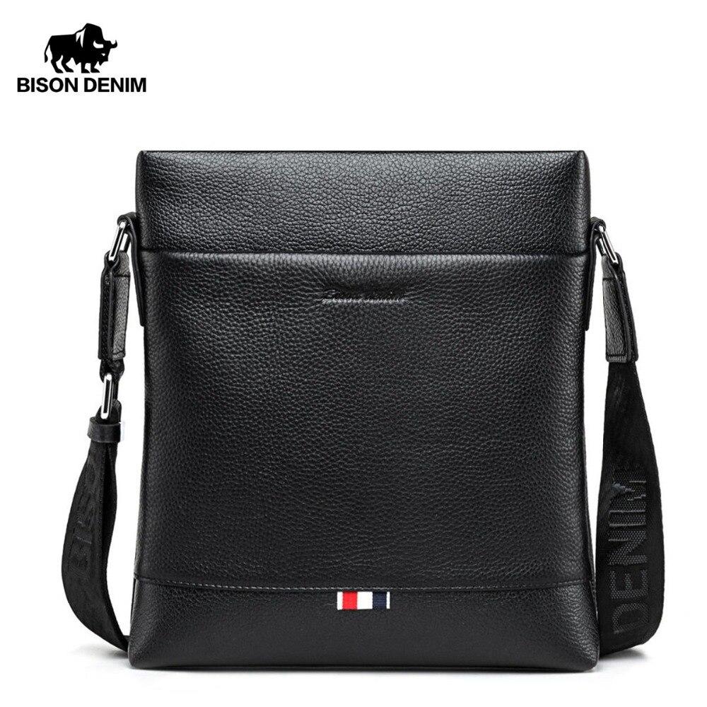 BISON DENIM Genuine Leather Men Bag Casual Business Crossbody Bag iPad Mens Messenger Bag Classic Black bolsas male N2821-1B teka classic 1b 1d
