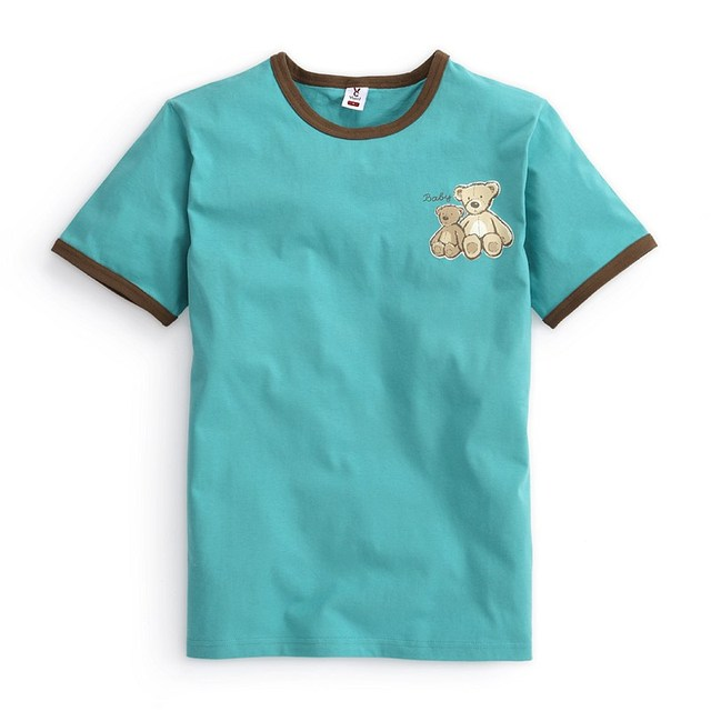 VANCL Men Family Fashion Set Father Family Edition Teddy Bear Tee 100% Cotton Short Sleeve T-shirt Turquoise FREE SHIPPING