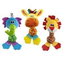 22cm Wholesale rattles Baby plush toy soft hand bell with teether Animal model infant 0-12 months brinquedos WJ251