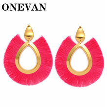 ONEVAN Big Tassel Drop Earrings For Women Fashion Statement Bohemian Handmade Brincos Fringe Earring Za Pendientes Jewelry(China)