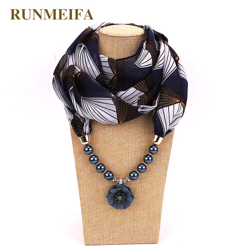RUNMEIFA Decorative Scarf Printed Chiffon Necklace With Pendant String Of Pearl Women Head Scarves Muslim Hijab Scarf