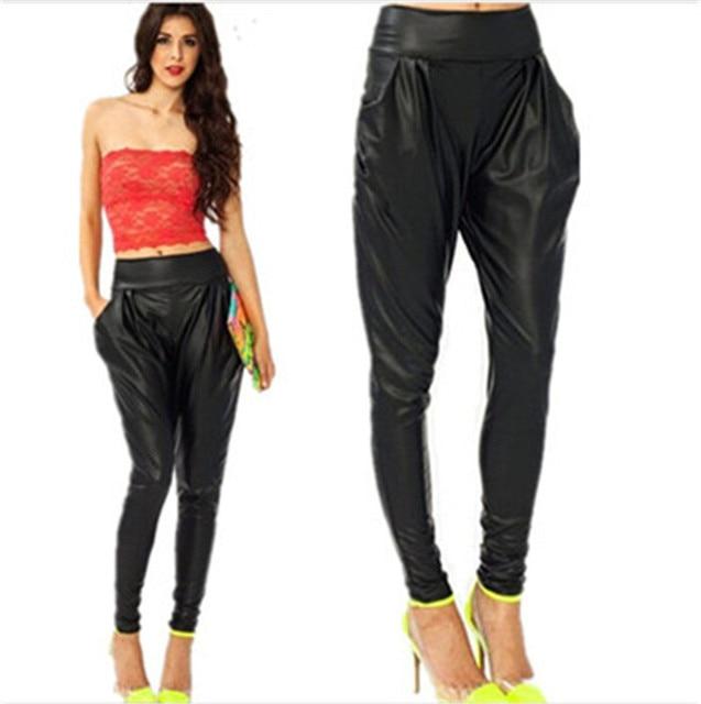 S-XL New Fashion Black Loose Harem Faux Leather Pants Women Joggers Plus Size Pants High Street Women's Pants
