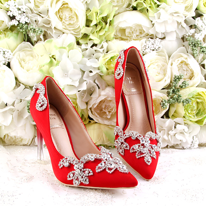 9557b0b3ad75 Detail Feedback Questions about 9cm High Heels Wedding Shoes Red Women  Pumps Crystal Strange Heels Stiletto Bridal Bridesmaids Gift Shoes Party  Ladies Shoes ...