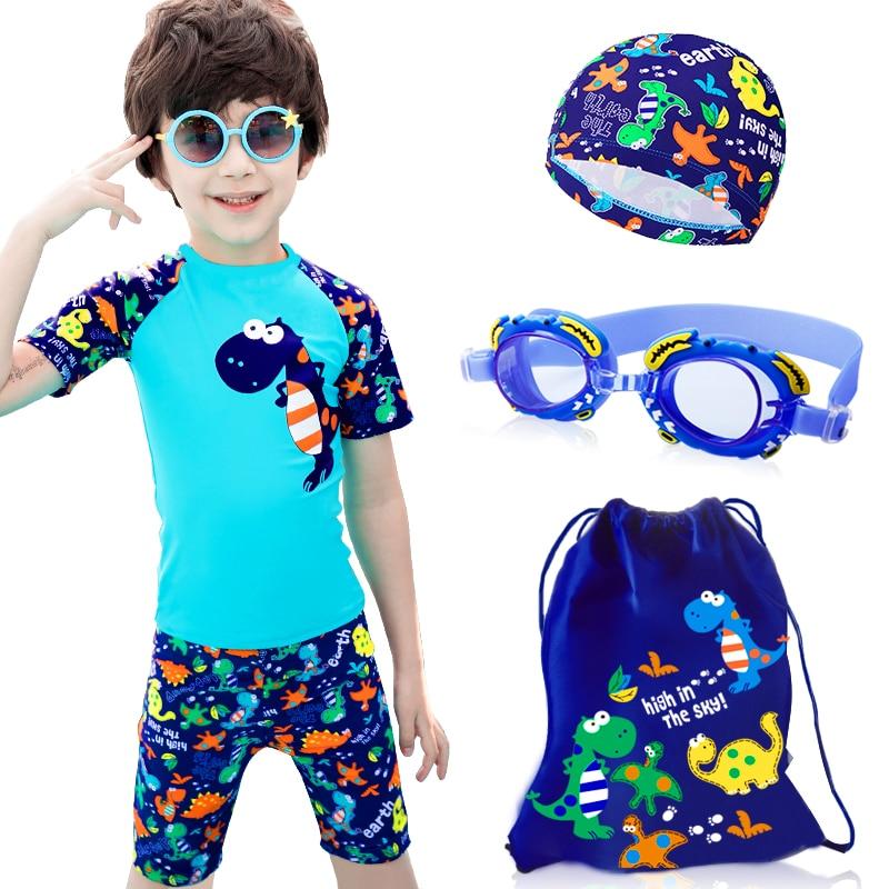 Children Swimwear Swimsuit For Boys Dinosaur Shark Cartoon Swimsuit Swimming Ring Kids UV Prodection Children's Bathing Suit
