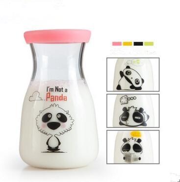 high quality 400ml glass cartoon tea ware/ milk mu...