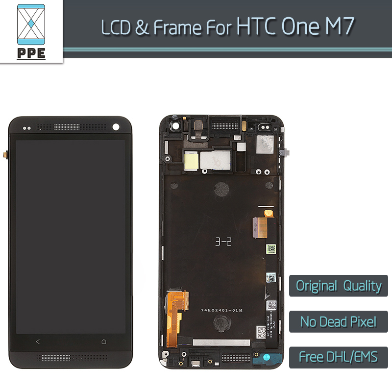 10pcs/lot LCD Assembly for HTC One M7 LCD Display Touch Screen Digitizer With Frame Bezel Replacement New Original Quality new lcd display touch screen digitizer assembly for htc one m9 with frame replacement free shipping
