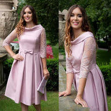 2019 Classic Short Pink Mother Of The Bride Dresses Half Sleeve Tea Length A Line Party Gowns Applique Lace vestido de madrinha стоимость
