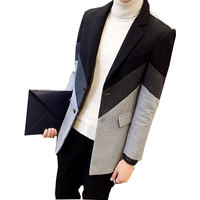 Patchwork Mens Overcoat Contrast Stripe Trench Coat 2017 Grey Green Winter Fashion Single Breasted Slim Fit Long Coat Men 3XL