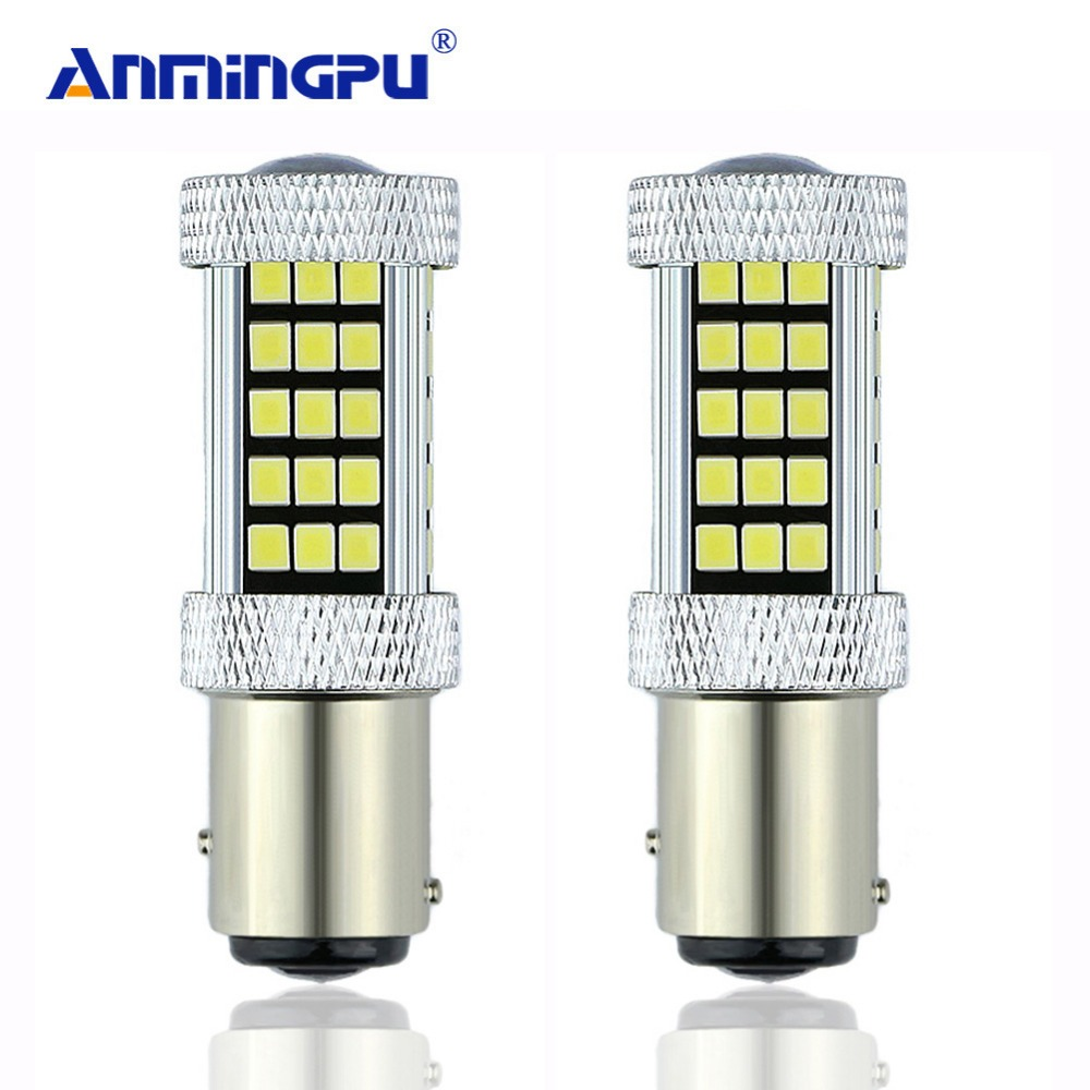 ANMINGPU Signal Lamp 2x 1157 P21/5W Bay15d LED 66 SMD 12V Automobile Car Brake Light Stop Parking DRL Lamp Red/White/Amber cheerlink 1157 11w 800lm 5 led red light car lamp silver white 12v 2 pcs