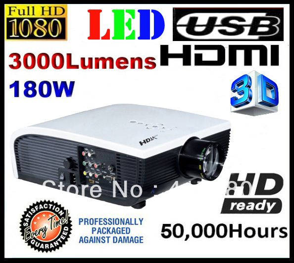 260 Multimedia 3000 Lumens Hd Led Projector Home Theater: Free Shipping Full HD TV LED Projector 3000 Lumens