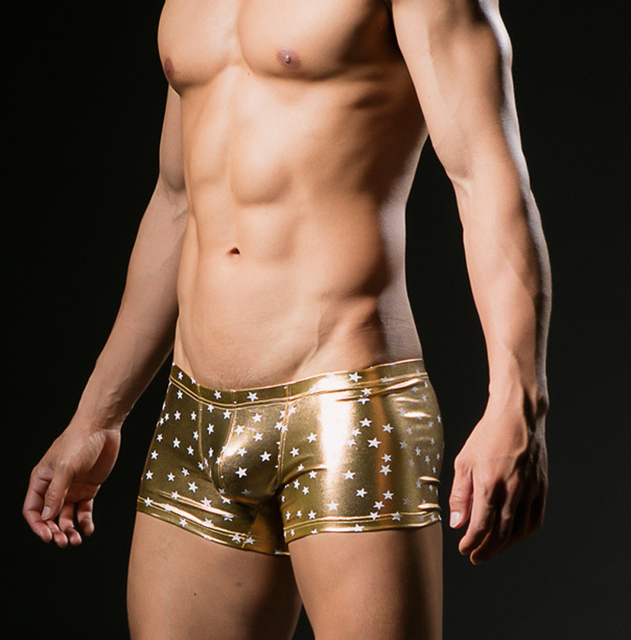 Male panties faux leather panties male trunk gay men underwear boxer shorts Stage costumes sexy underwear big men