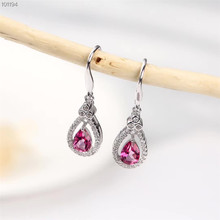 цена wholesale fashionable gemstone jewelry 925 sterling silver natural pink topaz pendant earrings for female party anniversary онлайн в 2017 году