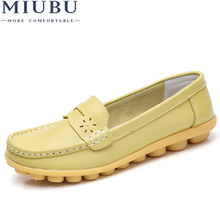 MIUBU 2019 Spring women genuine leather ballet flats casual shoes round toe slip on flats female loafers ballerina flats