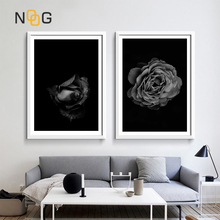 NOOG Canvas Painting Poster Art Print on Black Rose Flower Posters Wall Pictures For Living Room