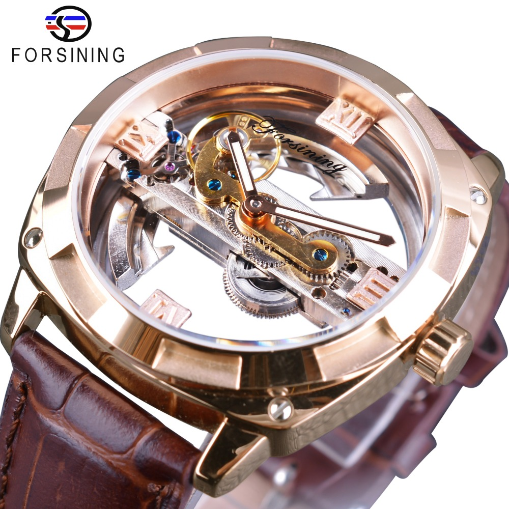 Forsining Rose Golden Brown Genuine Leather Belt Transparent Double Side Open Work Creative Automatic Watches Top Brand Luxury forsining brown leather belt golden bezel transparent case steampunk double sided hollow men automatic watches top brand luxury