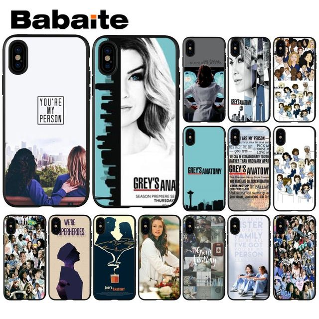 Babaite Grays Anatomia da TV Americana DIY High-end de Luxo Protector Case para iPhone 5 5Sx 6 7 7 plus 8 8 Plus X XS MAX XR