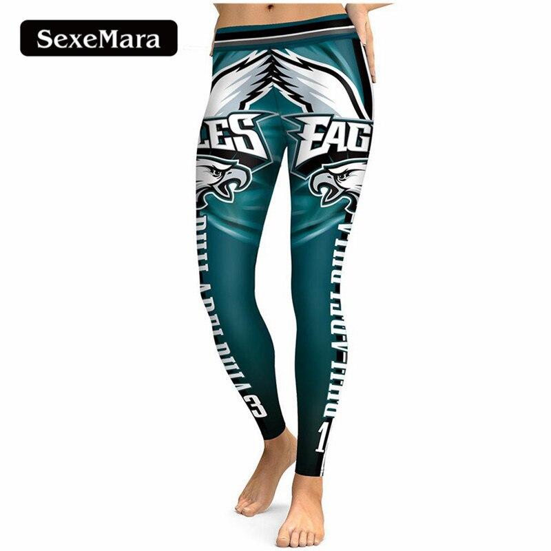 SexeMara PHILADELPHIA AQUILA S 13 3D Stampa Donne Leggings A Vita Alta Legging Steelers Stampati Pantaloni Donna Slim Fitness Leggins