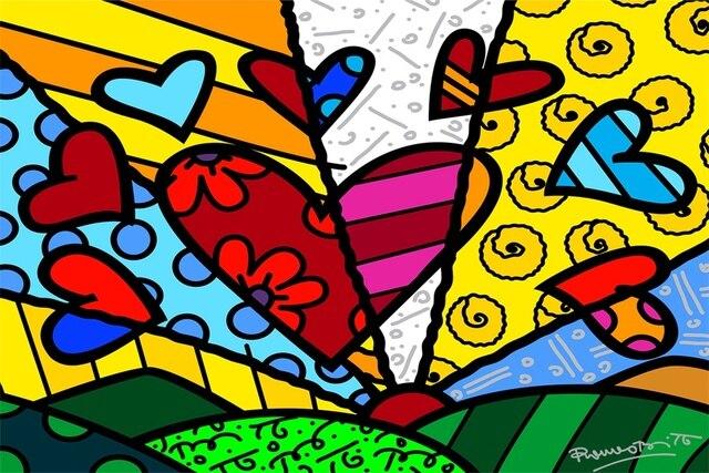 Romero Britto Paintings Posters Custom Canvas Art Kids Wallpaper Hearts Romer