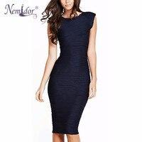 Nemidor 2016 Women Elegant Striped Bodycon O Neck Work Dress Casual Sleeveless V Low Back Pencil