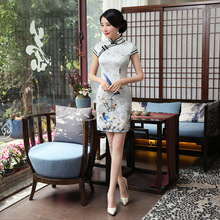 Elegant White Cotton Chinese Classic Handmade Button Chinese Female Qipao Summer Short Sleeve Novelty Short Dress S-3XL LGD118-A