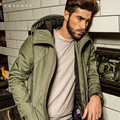 U&Shark Military Style Army Green Long Parkas Men Windproof Cotton Casual Coat 2016 Autumn New Retro Style Hooded Jacket Male