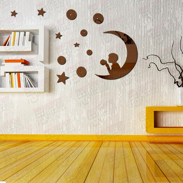 3d Stars Moon Space Art Mirror Acrylic Wall Stickers Paper