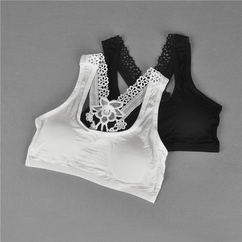1PC Young Girls Vest Fashion Young Girls Bra Bra Lace Puberty Girl Underwear Wire Free Bra For Teens
