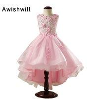 Hot Sale Sleeveless 2017 Pink Flower Girl Dresses For Weddings Little Princess First Communion Dresses For