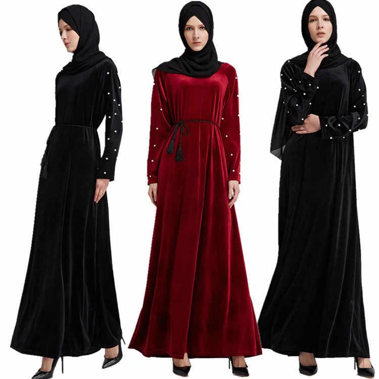 赤、黒アバヤ着物ドバイトルコバングラデシュイスラム服ベルベットビーズカフタンアラビア包帯イスラム教徒ドレスカフタンローブ