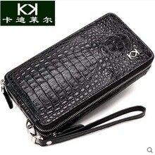 Kadiler new crocodile handbag men bag large capacity hand caught bag business leather long women clutches