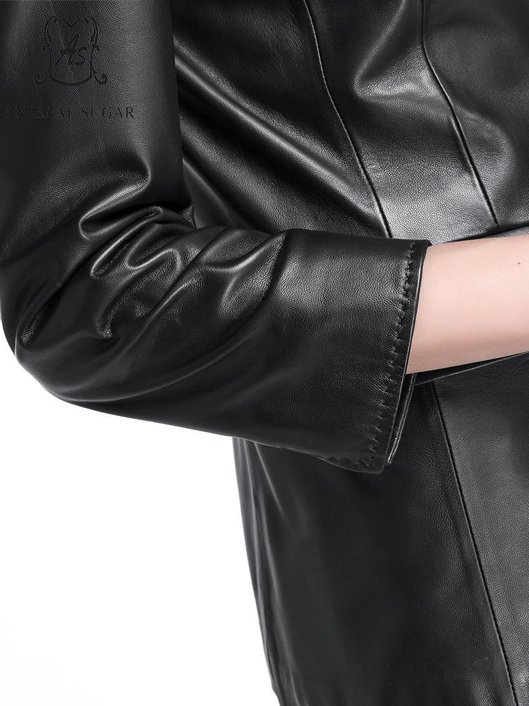 Automne Feminina De En Femmes Jaqueta Véritable Veste Réel Rabattu Mouton Unique Noir Cuir Couro Peau Col Moto Bouton cWW1fBn